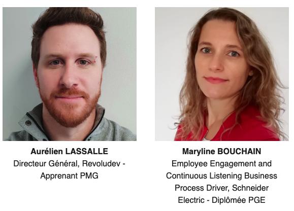 Info session en ligne du 6 juillet 2021 avec la participation d'Aurélien Lassale, participant du PMG, et de Maryline Bouchain, diplômée du PGE